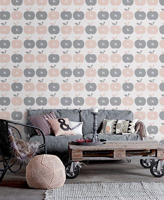 Peel And Stick Self Adhesive Vinyl Wallpaper Apple Pattern V003 Pink Removable Wallpaper Vinyl Wallpaper Removable Wallpaper
