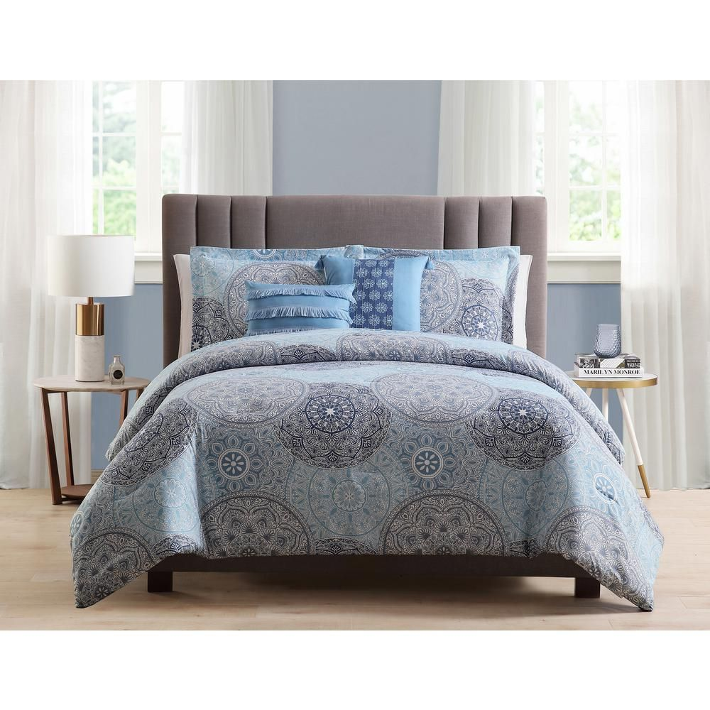 Morgan Home Samuel 5 Piece Blue Full Queen Comforter Set In 2019
