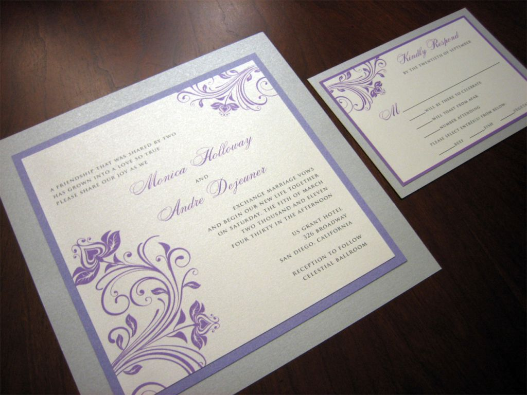 Purple And Silver Wedding Invitation Maybe Gray Or Border