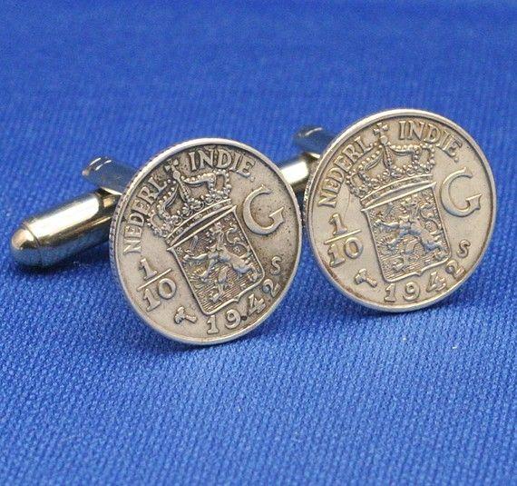 Dutch East Indies .720 SILVER Coin - New Cufflinks