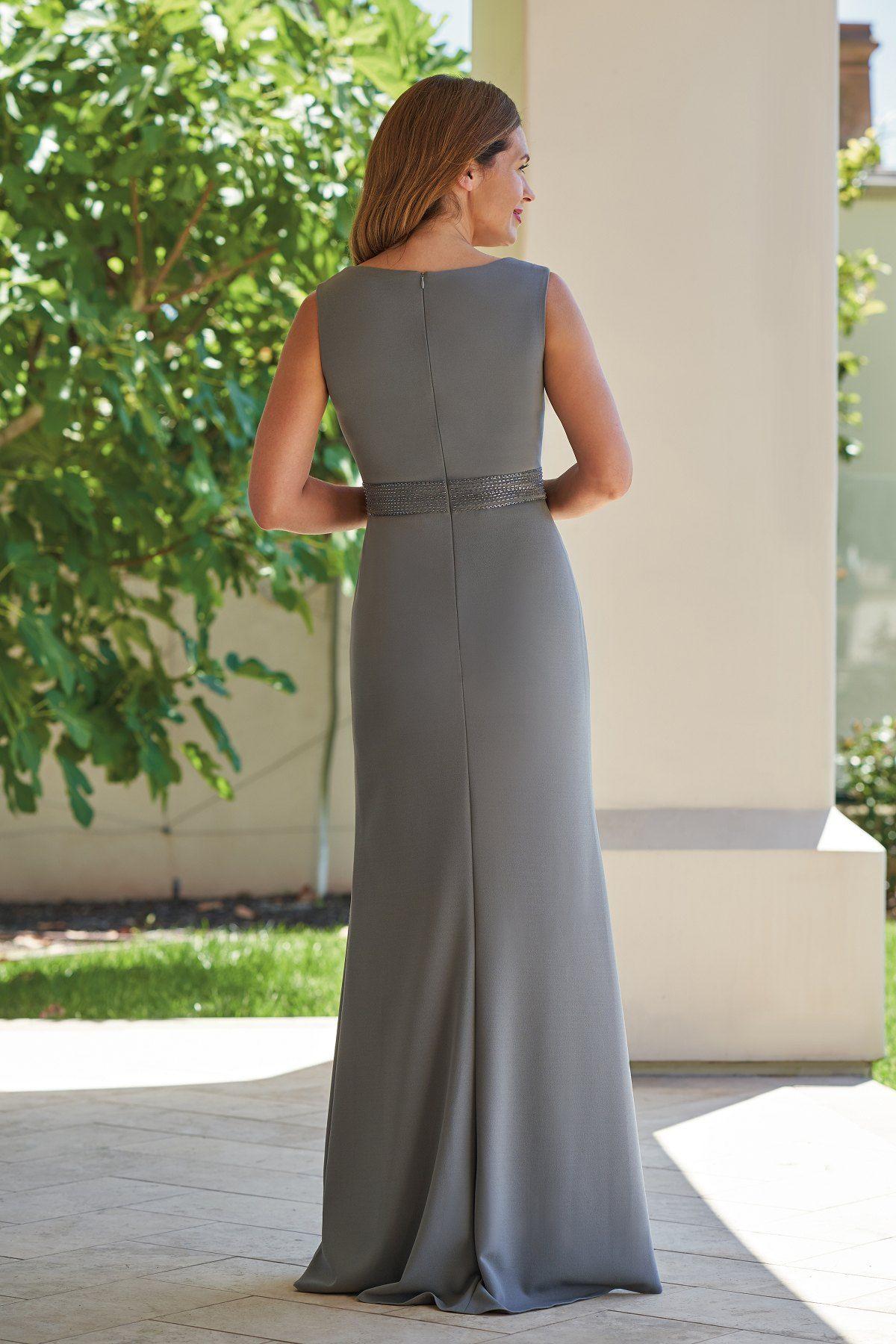 d81247a4be2 J215009 Stretch Crepe   Jade Tiffany Chiffon MOB Dress with V-Neckline