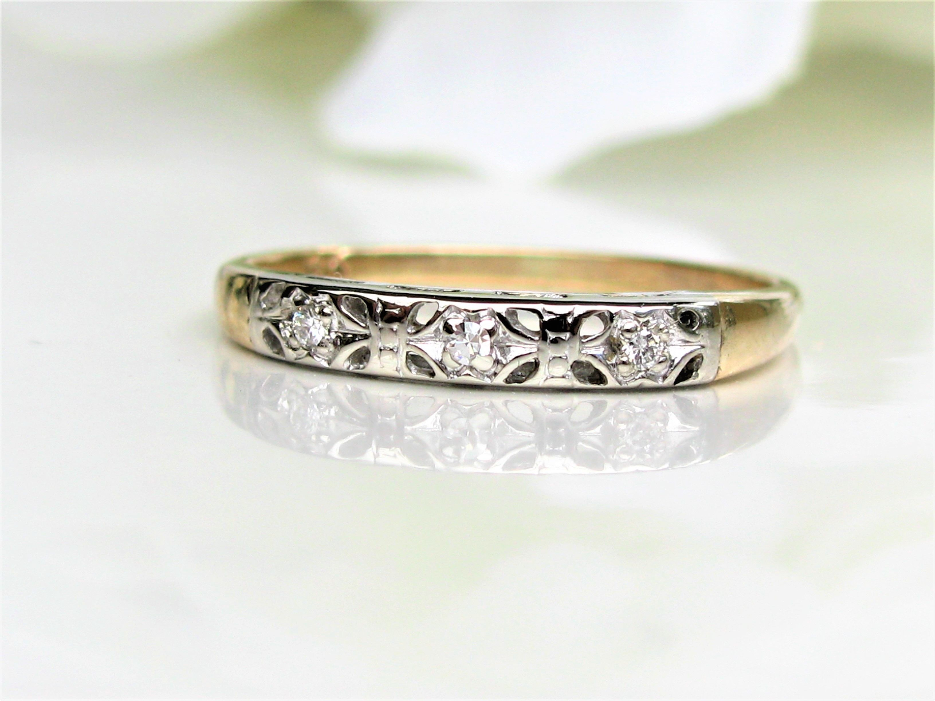 diamond deco vintage band art ring wedding rings engagement keepsake white pin ladies gold