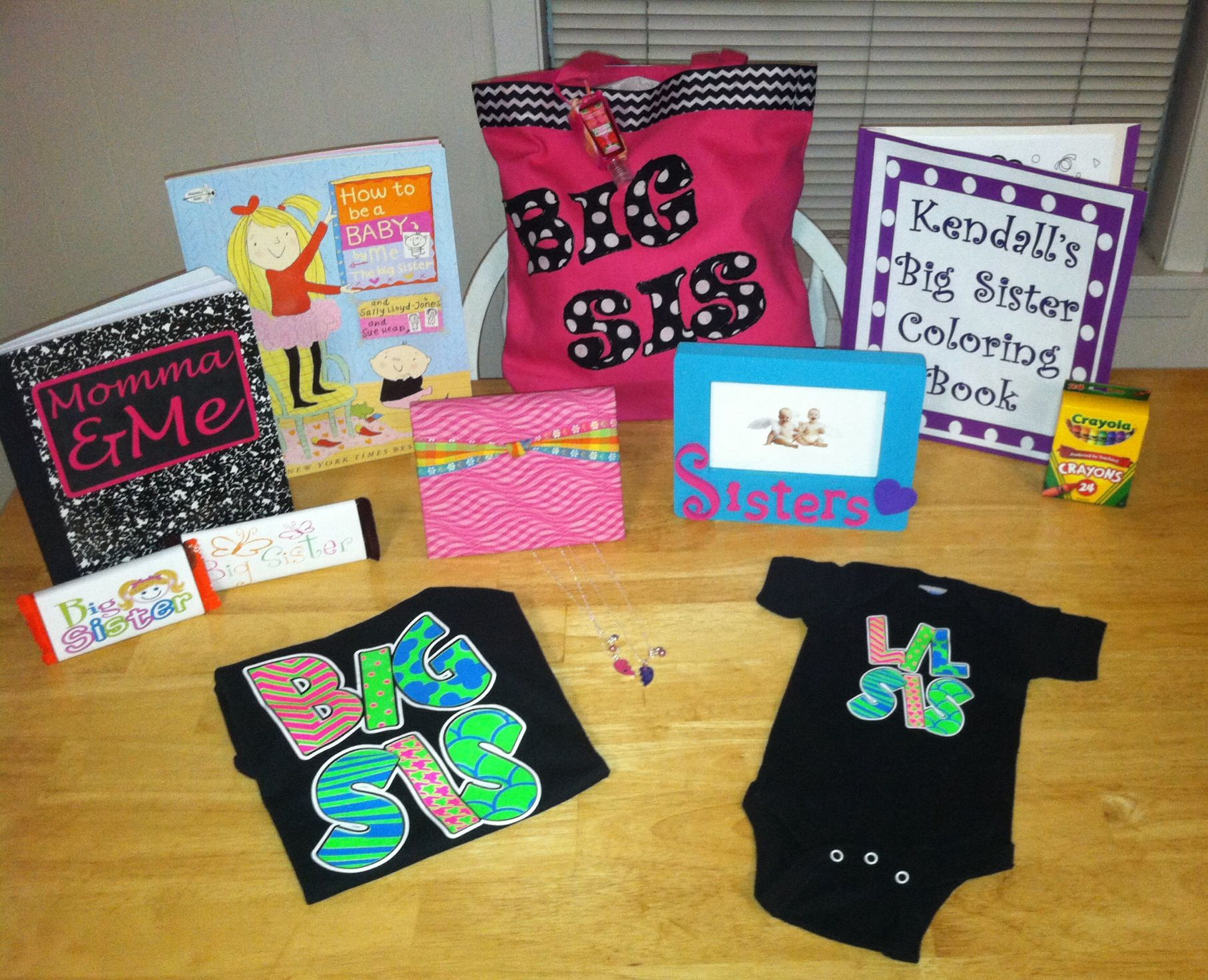 Kendalls Big Sister Bag for the hospital Momma and me book for