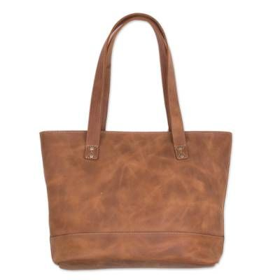 Leather tote, 'Sepia Waves'