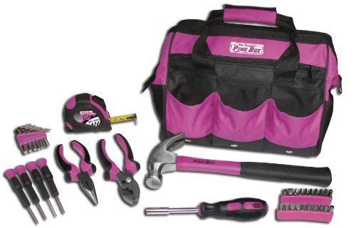 pink box 12-inch bag & 30-piece handy mechanic woman tool set, pink ...