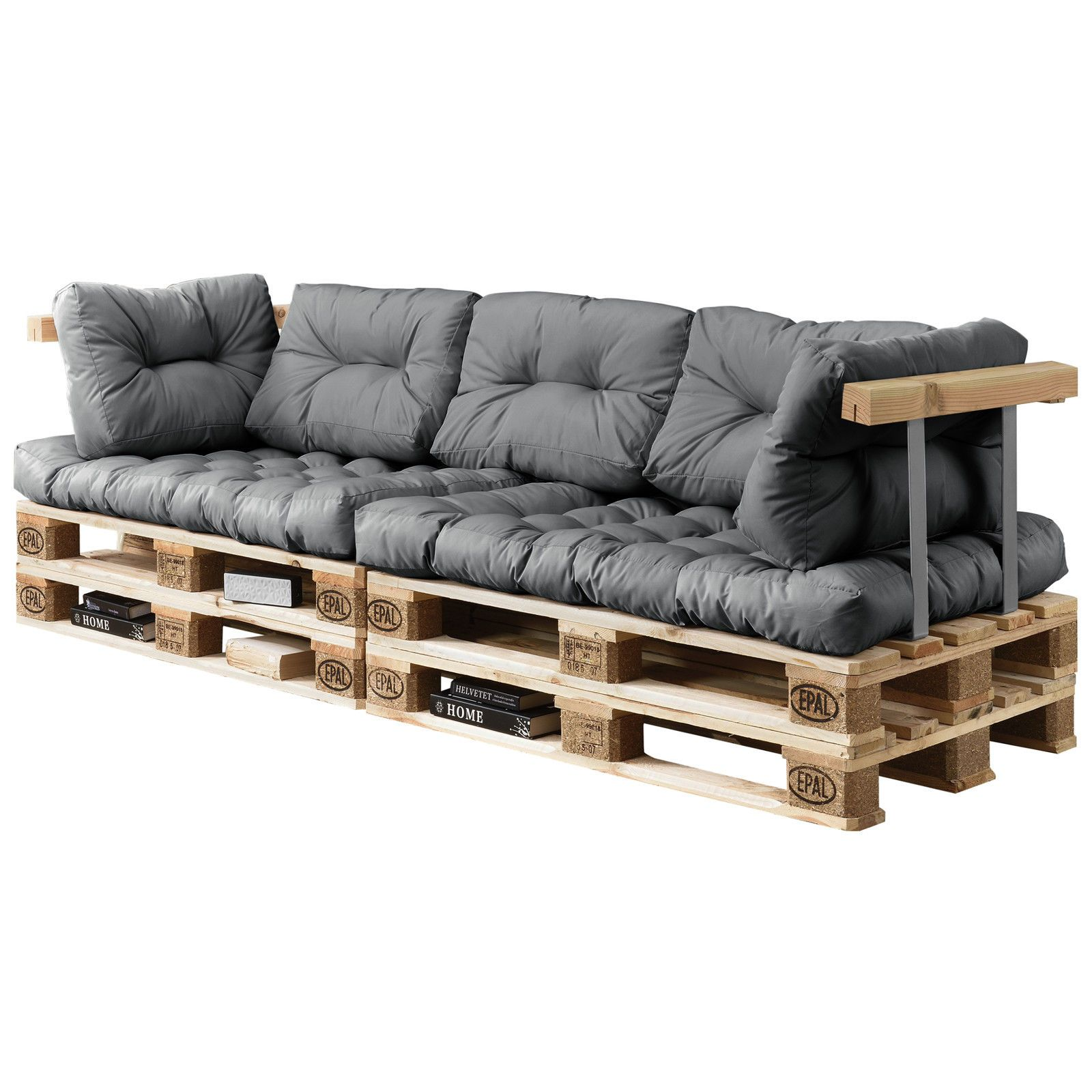 euro paletten sofa 7x sitz r ckenkissen hell grau kissen auflage in garten. Black Bedroom Furniture Sets. Home Design Ideas