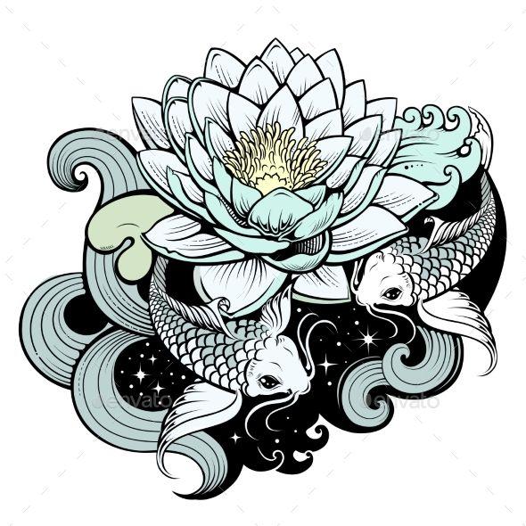 Koi Carps in Pond | Animación | Pisces tattoos, Kanji ...