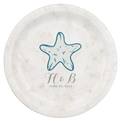 Royal Blue Rustic Starfish Wedding Paper Plate  sc 1 st  Pinterest : paper plate starfish - pezcame.com