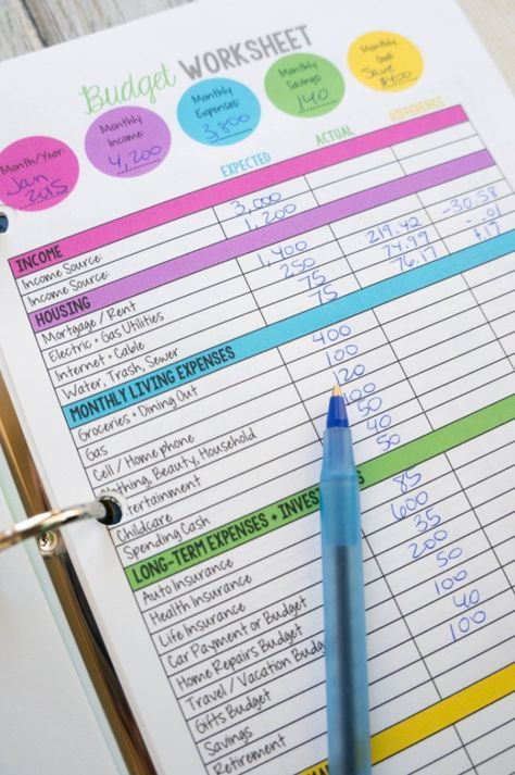 Family Budget Worksheet Worksheets, Budgeting and Free