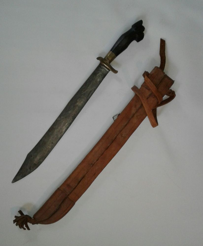 Antique Vintage Philippines Sword Bolo Machete Knife Dagger Leather Sheath Machete Knife Leather Sheath Antiques