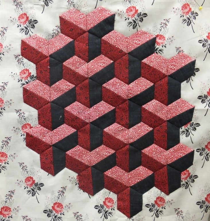 Paper pieced hexagons come together to make a lovely block