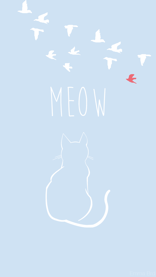Meow Blue Cat Iphone Wallpaper Lock Screen Panpins Emoji
