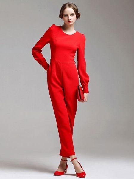 Elegant High Waist Long Puff Sleeve Red Jumpsuit