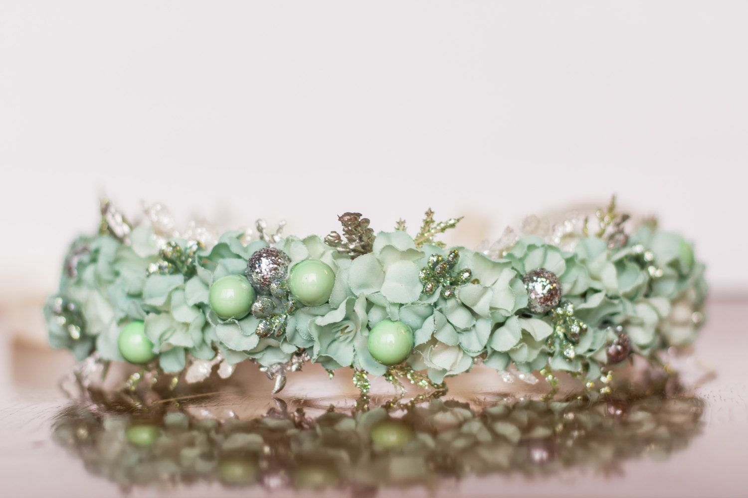Holiday flower crown mint green and silver halo flowergirl holiday flower crown mint green and silver halo flowergirl hairpiece floral halo izmirmasajfo Image collections