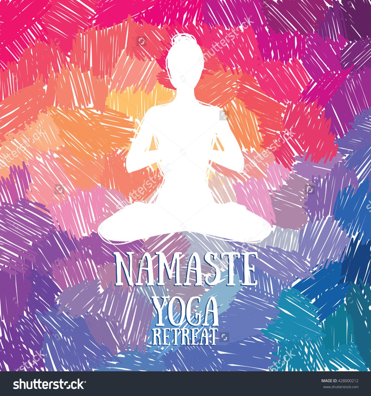 "artistic poster for yoga retreat or yoga studio, ""namaste"" card, vector illustration"