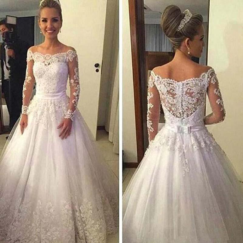 Cheap Off Shoulder Long Sleeve Covered Button Wedding Dresses