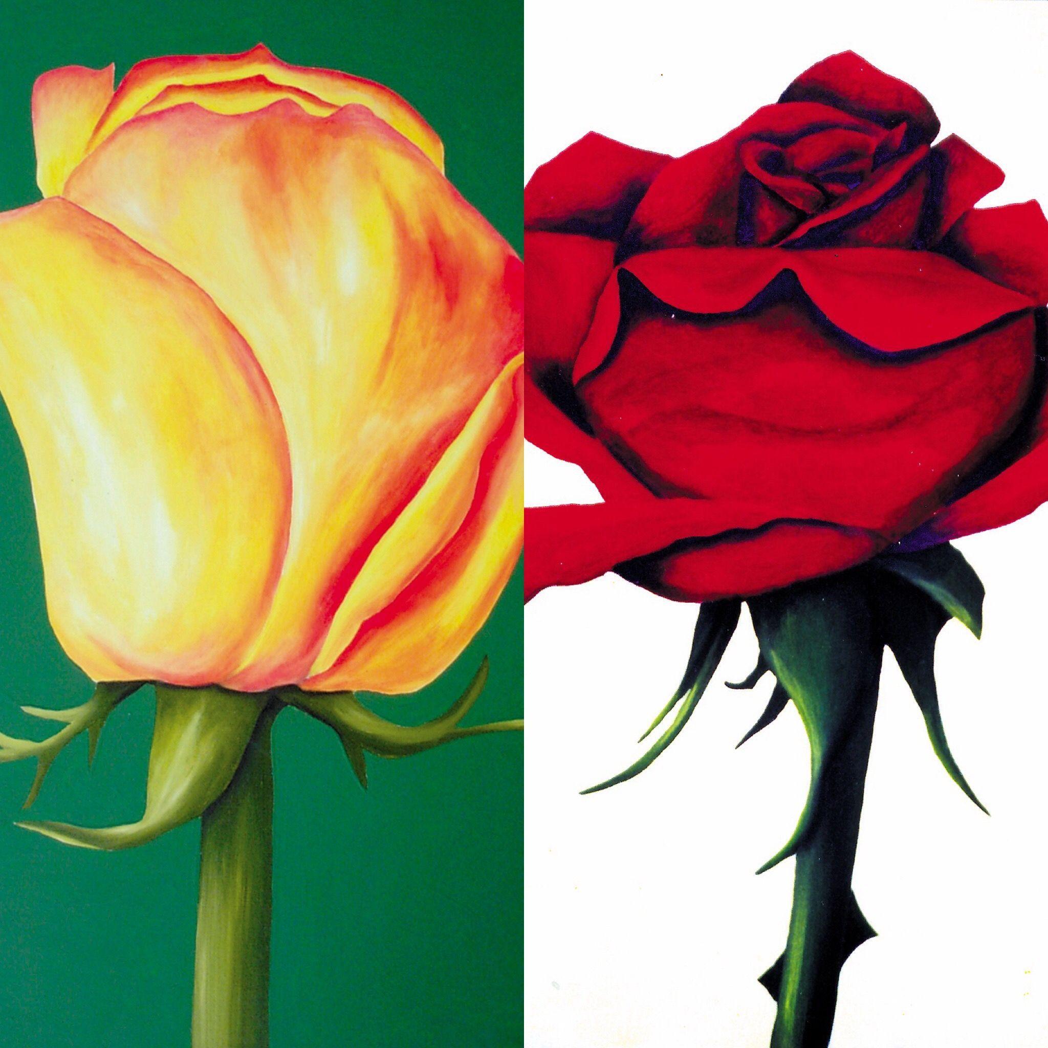 Rosen II -Acryl auf Leinwand- je 50 x 70 cm