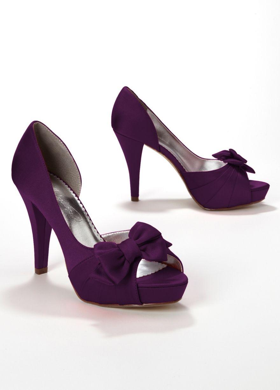 Satin Peep Toe Platform High Heel with Bow Maribelle plum $49