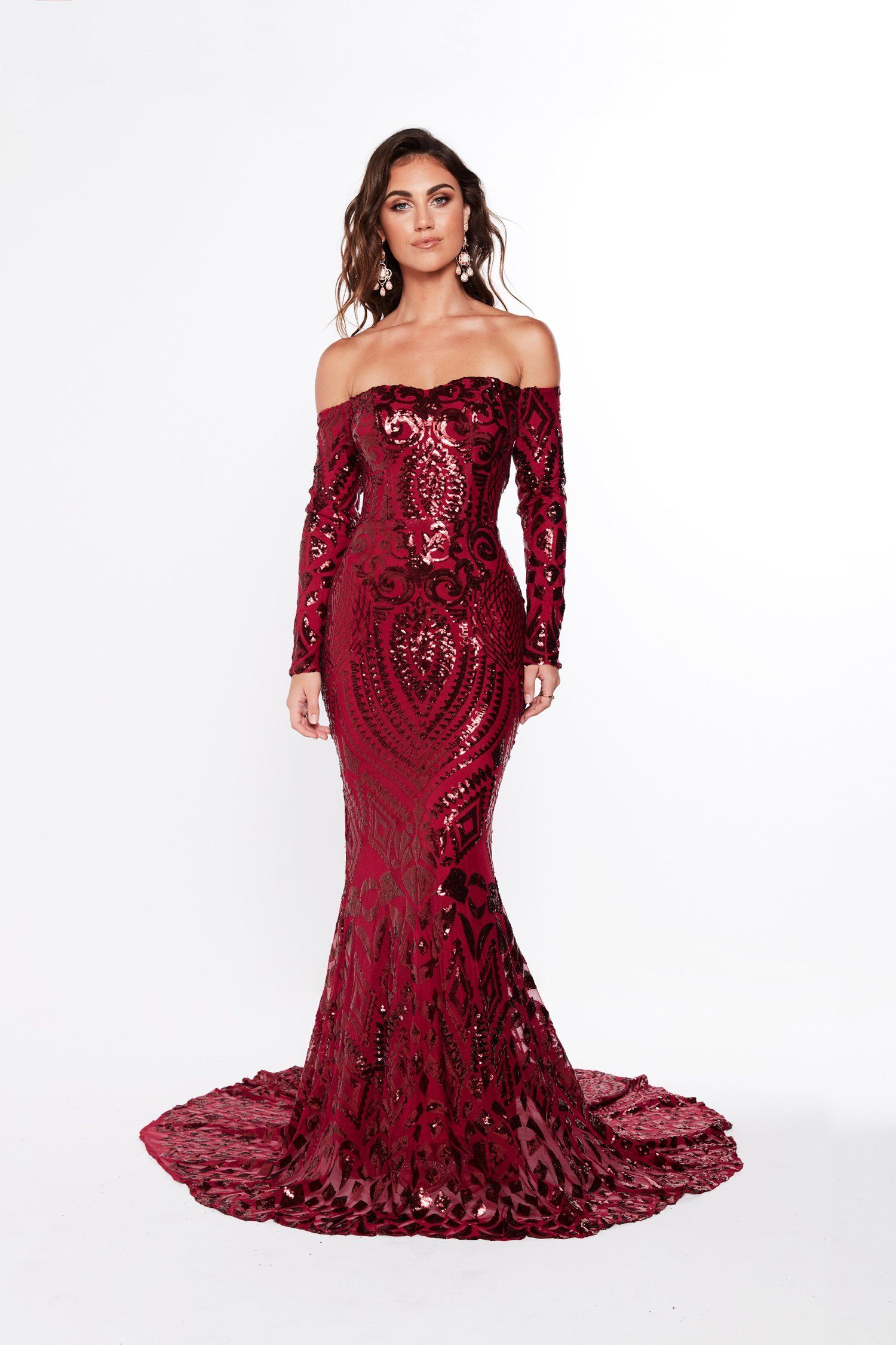 f8396cde8fe A&N Luxe Isidora Sequin Gown - Burgundy in 2019 | 2020 | Strapless ...