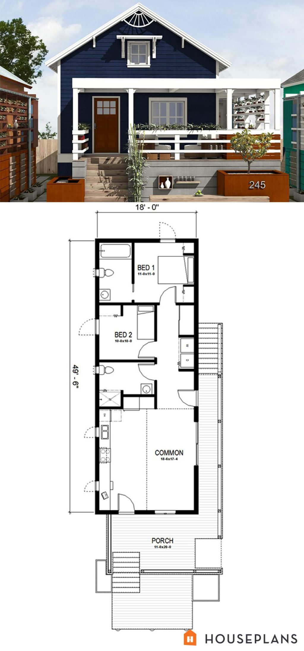 New Orleans Cottage House Plan By FreeGreen. Two Bathrooms In A Space This  Size Seems Unnecessary. Iu0027d Turn The Back One Into A Wic For Each Bedroom U0026  Put A ...