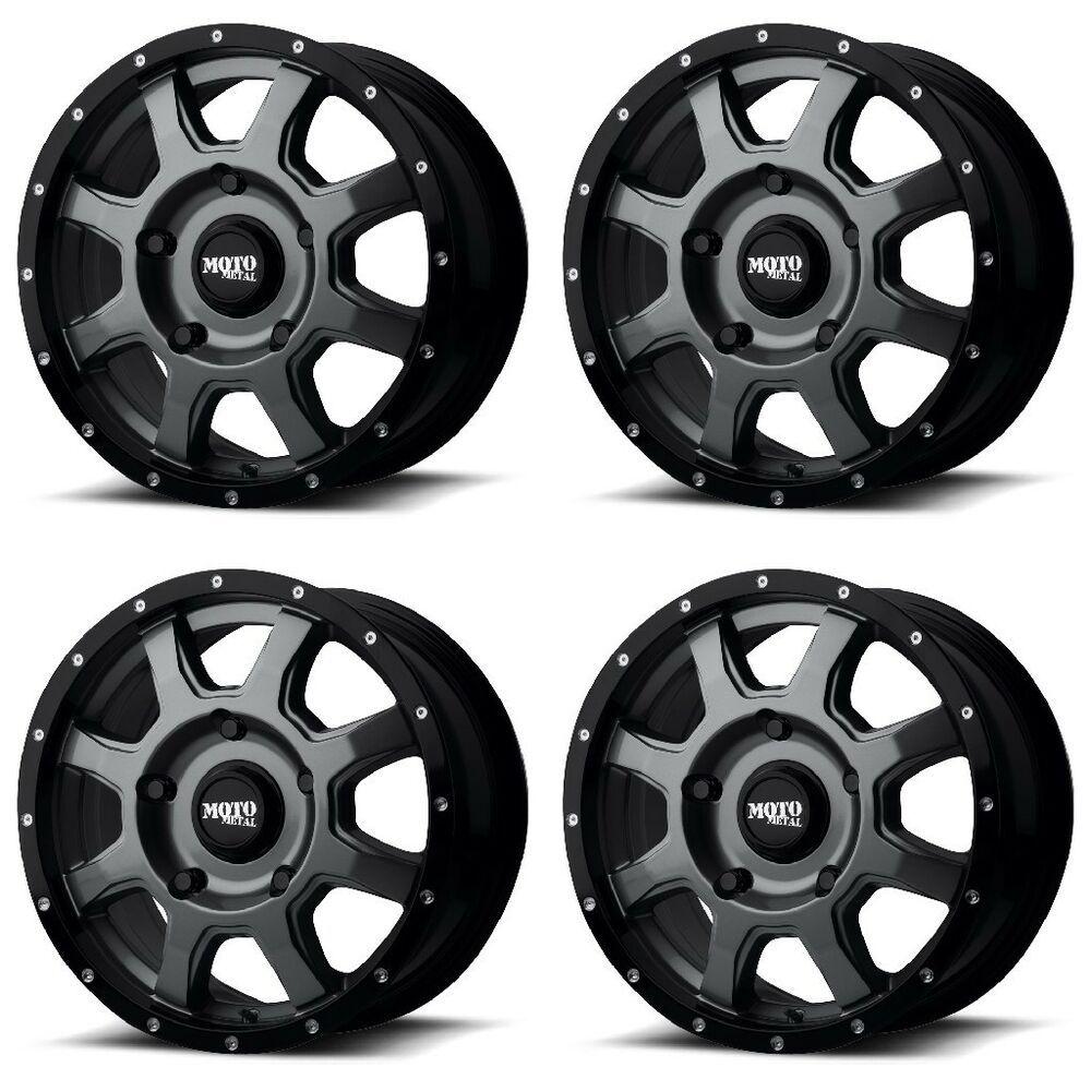 Set 4 16 Moto Metal Mo970 Euro Van Grey Black Lip Wheels 16x7 6x130 42mm 6 Lug Motometal In 2020 Black Lips Black Wheels Black Truck