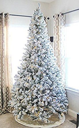 King Of Christmas 8 Foot Prince Flock Artificial Christmas Tree With