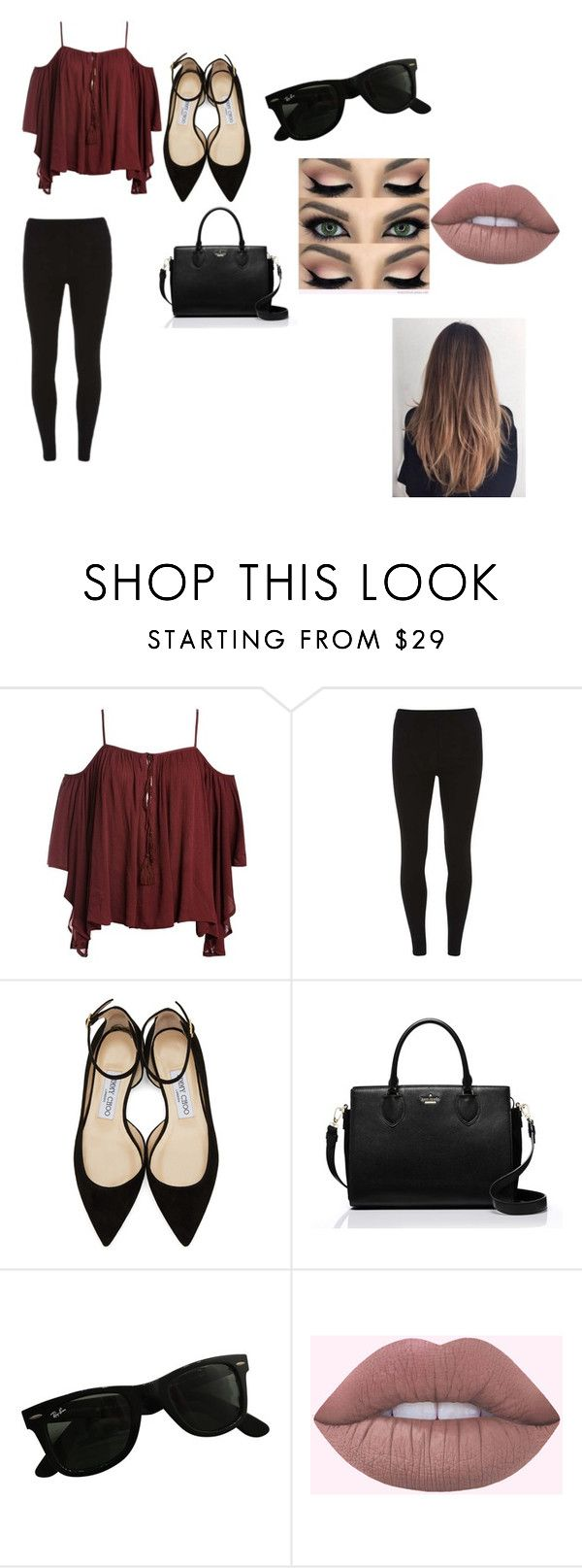 """Untitled #22"" by julia-nakandakari-japa ❤ liked on Polyvore featuring Dorothy Perkins, Jimmy Choo, Kate Spade and Ray-Ban"