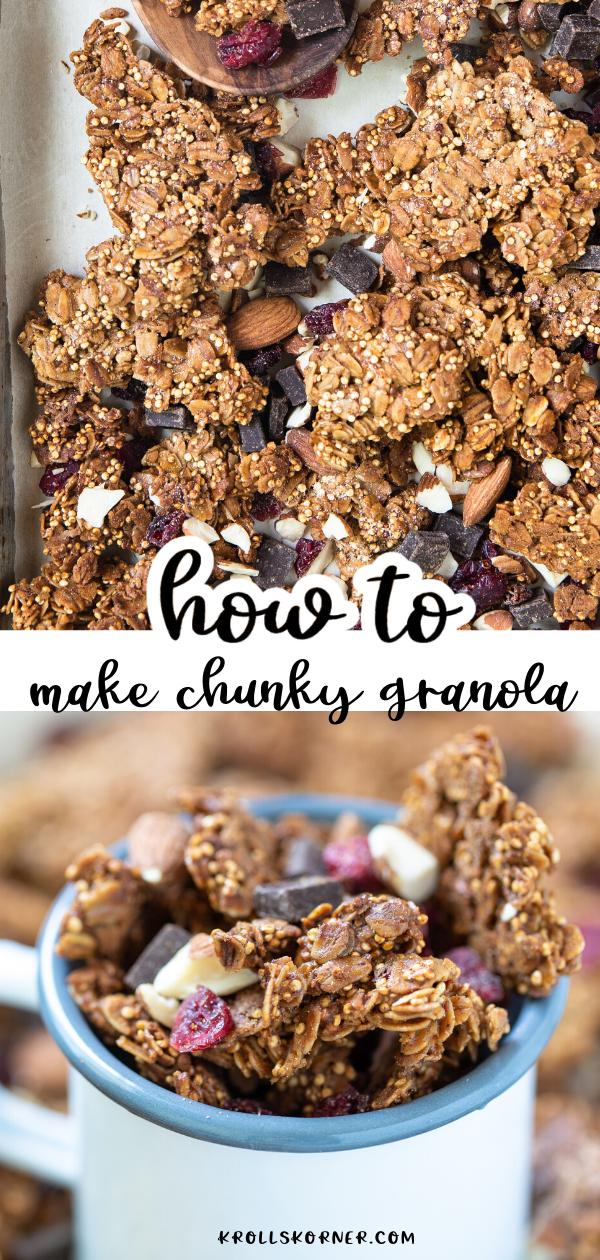 Dark Chocolate Quinoa Granola How To Get Big Chunks Granola Recipes Granola Recipe Homemade Granola