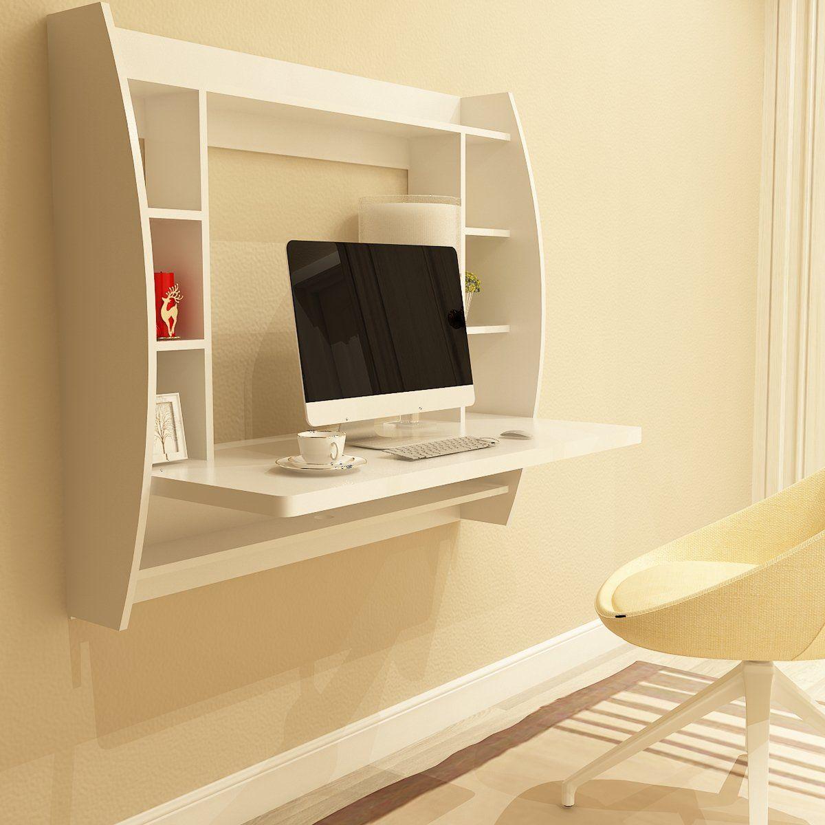 Wall Mounted Floating Desk With Storage Shelves White Home Office Computer Desk Floating Desk Desk Storage