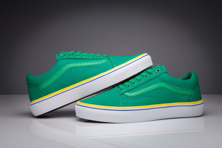 9b66cd97233 Vans Dazzle Old Skool Pro Classic Ultramarine Green Yellow Blue TRUE White  Womens Shoes  Vans