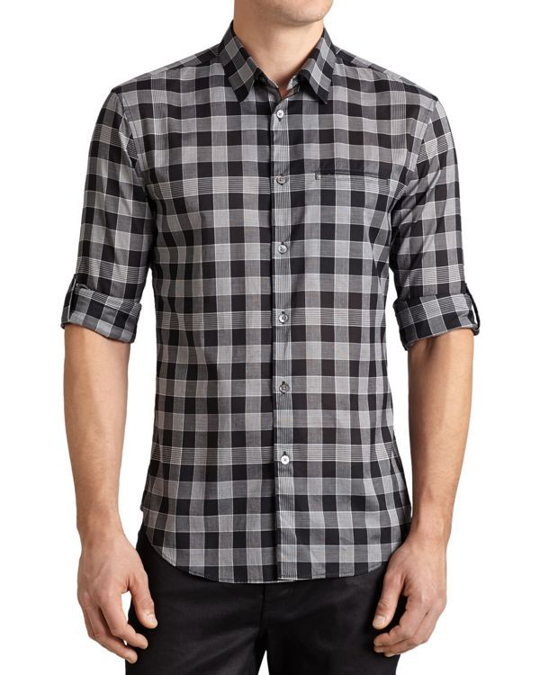 John Varvatos Collection Check Slim Fit Button Down Shirt