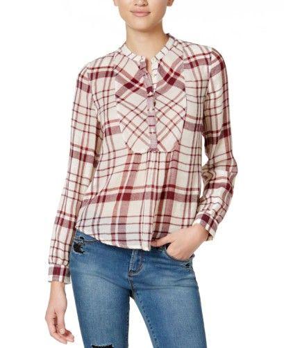 Lucky Brand Womens Burgundy Plaid Shirt