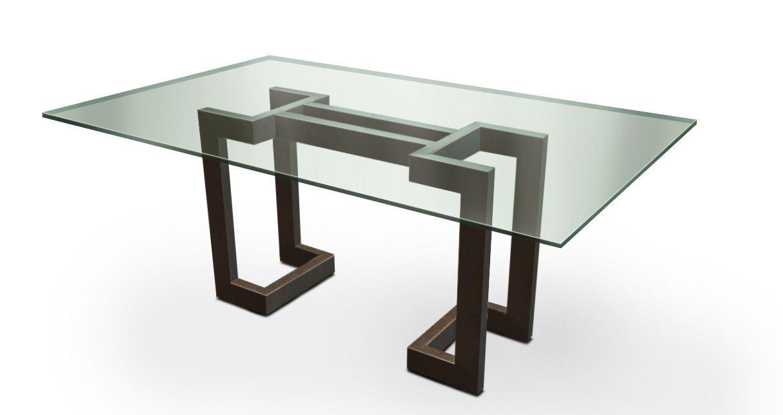 Mesa de comedor moderna de metal lacado de hierro for Mesas de comedor de vidrio y metal