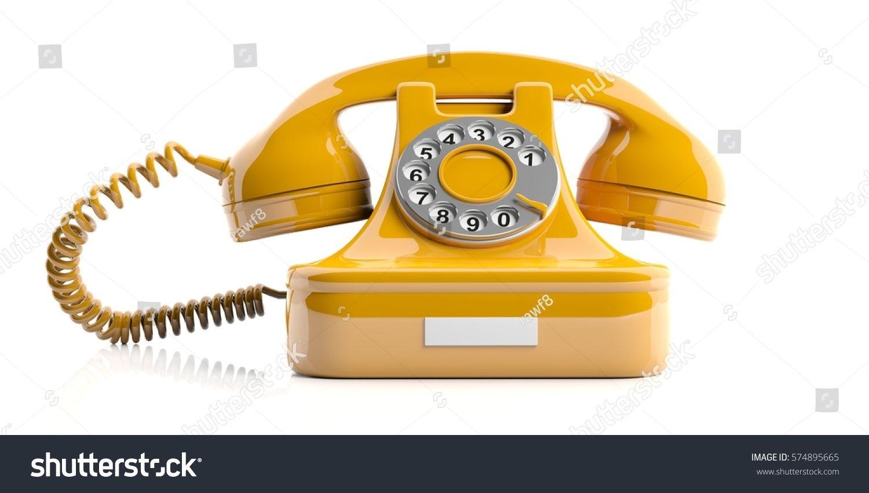Vintage Telephone Yellow Old Phone Isolated On White Background