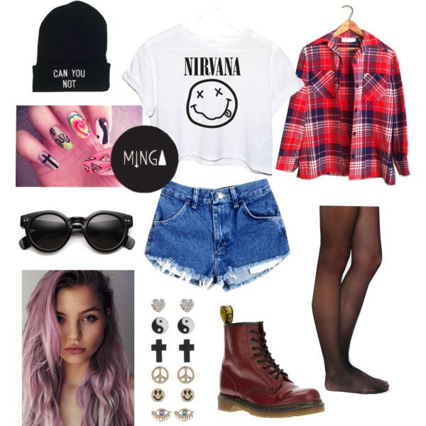 90u0026#39;s grunge inspired outfit. by mermaidays on Polyvore featuring CC Pendleton Dr. Martens and ...
