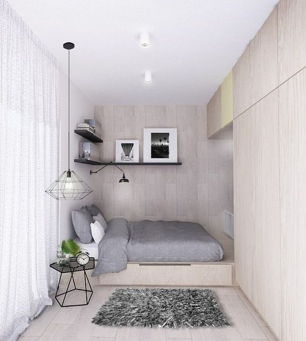Modern Small Bedroom Ideas Podium Bed Wardrobe Neutral Color Gray Bedding Set Small Bedroom Decor Small Bedroom Small Room Design