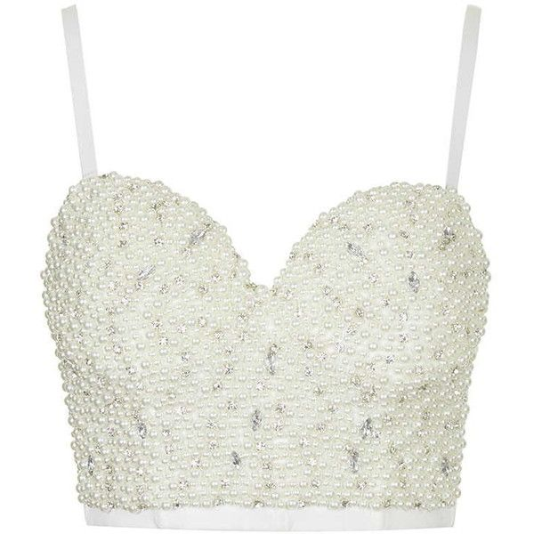 Topshop Beaded Bustier By Wyldr White Bralette Top Beaded Crop Top White Bustier Top
