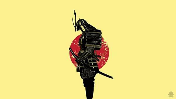 10武者の鎧と日の丸をデザインしたシンプルな和風イラスト壁紙画像
