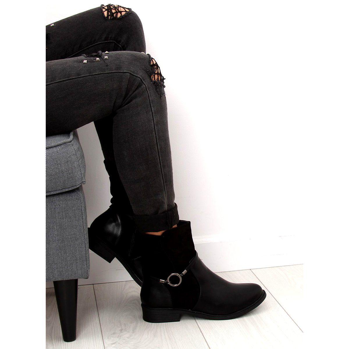 Botki Damskie Czarne Z 27 Black Grey Womens Boots Womens Boots Boots