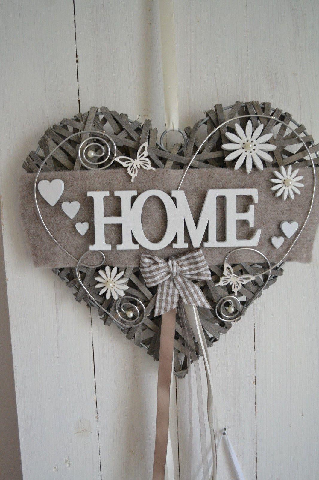 t rkranz herz weidenherz 35x35 naturt ne home landhaus ebay ideias pinterest. Black Bedroom Furniture Sets. Home Design Ideas