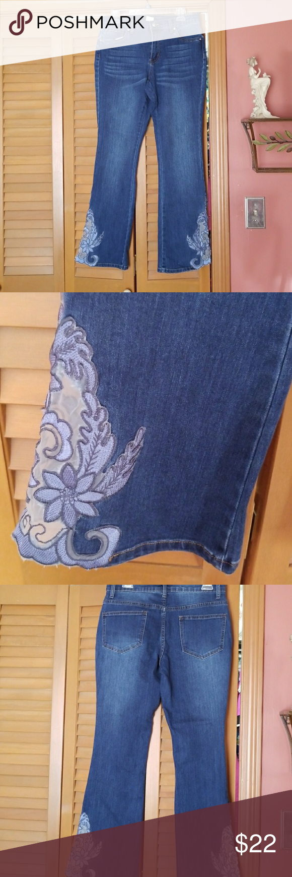 5d2e02e6b5 VENUS bell bottom beautiful embroidery on flare Zip up jean