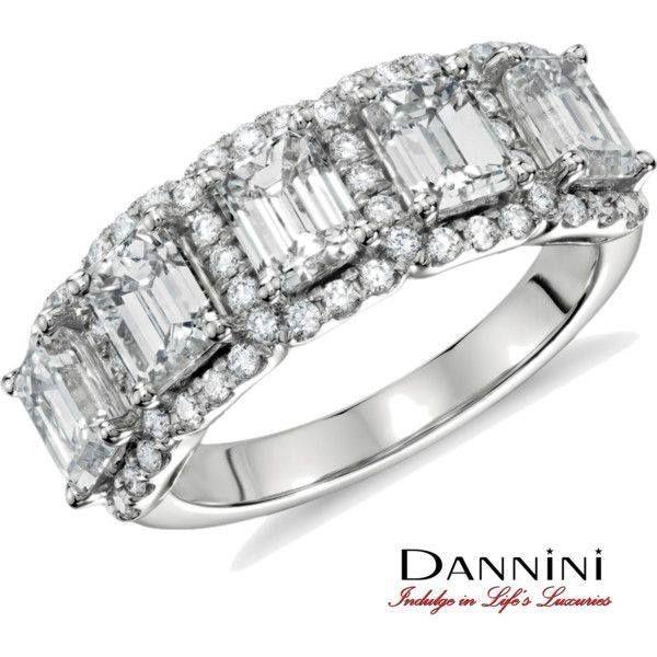 Emerald cut diamonds and pavé diamond band ring. #bridal #HappilyEverAfter #IndulgeInLifesLuxuries www.dannini.com
