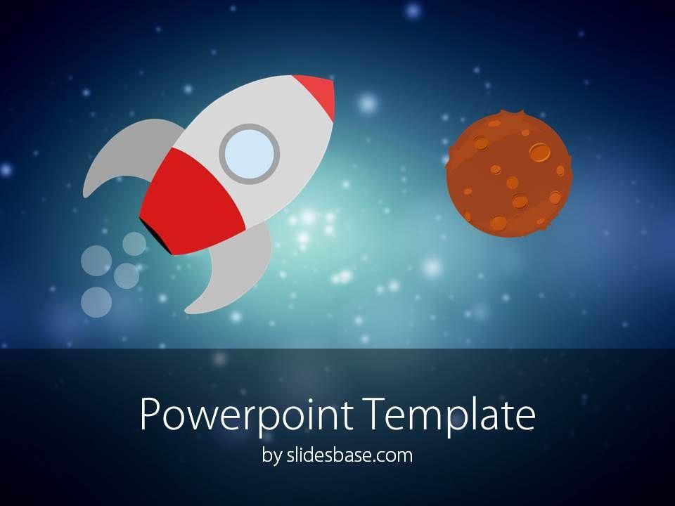 Rocket Product Launch Space Flight Cartoon Powerpoint Template