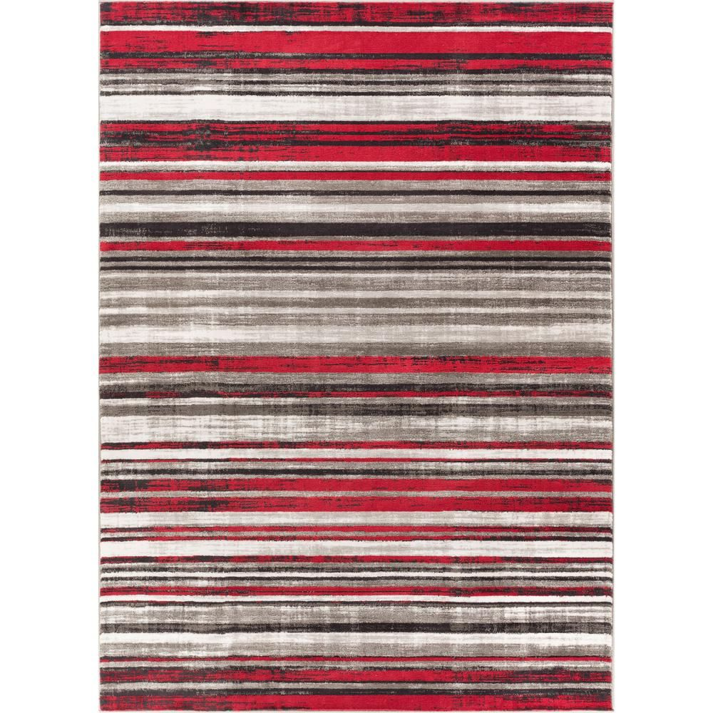 Well Woven New Age Signature Stripes Red 7 Ft 10 In X 9 Modern Boho Distressed Area Rug P Am 70 The Home Depot