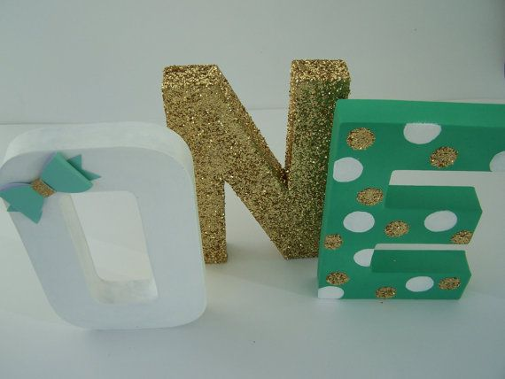 Glitter Letters Mint Gold By Peppypartypalace