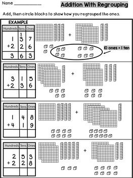 three digit addition with regrouping with base ten blocks worksheets students and third. Black Bedroom Furniture Sets. Home Design Ideas