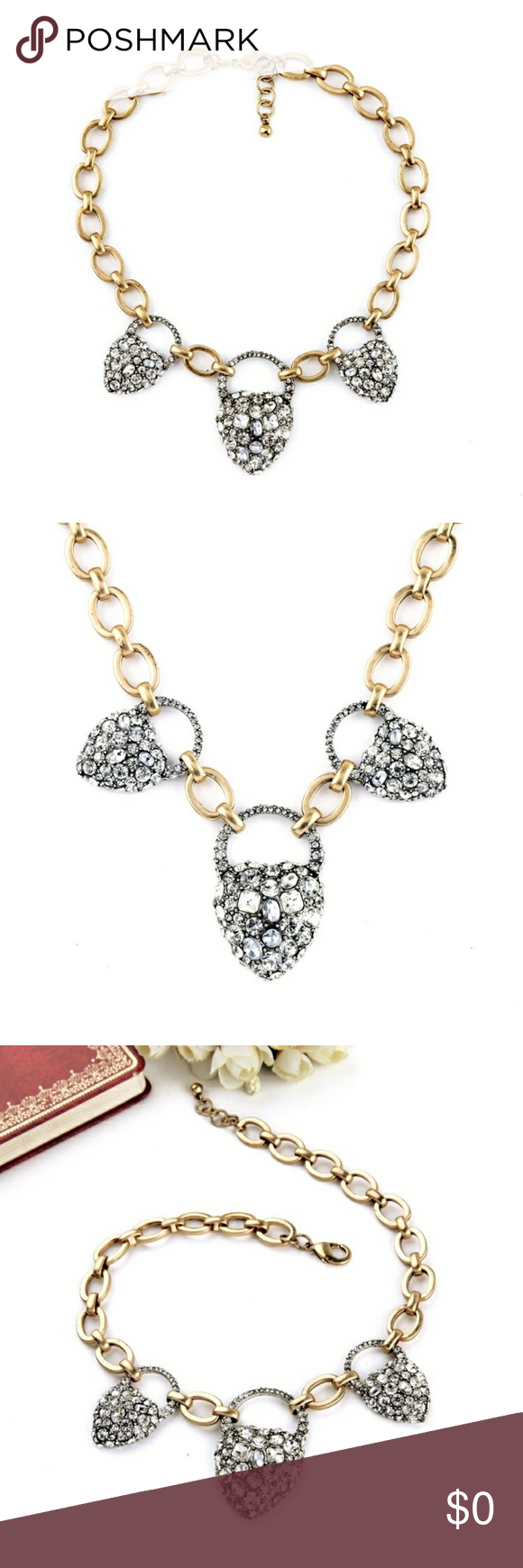 BlackHeart Locket Crystal Statement Necklace | Crystal statement ...