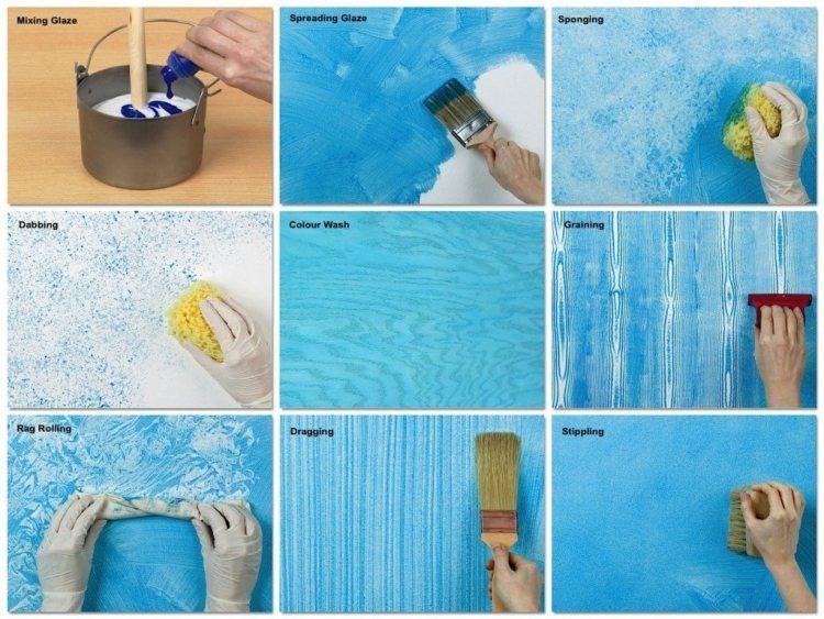 Ideen für verschiedene Maltechniken - Kreative Wandgestaltung - wandgestaltung streifen ideen