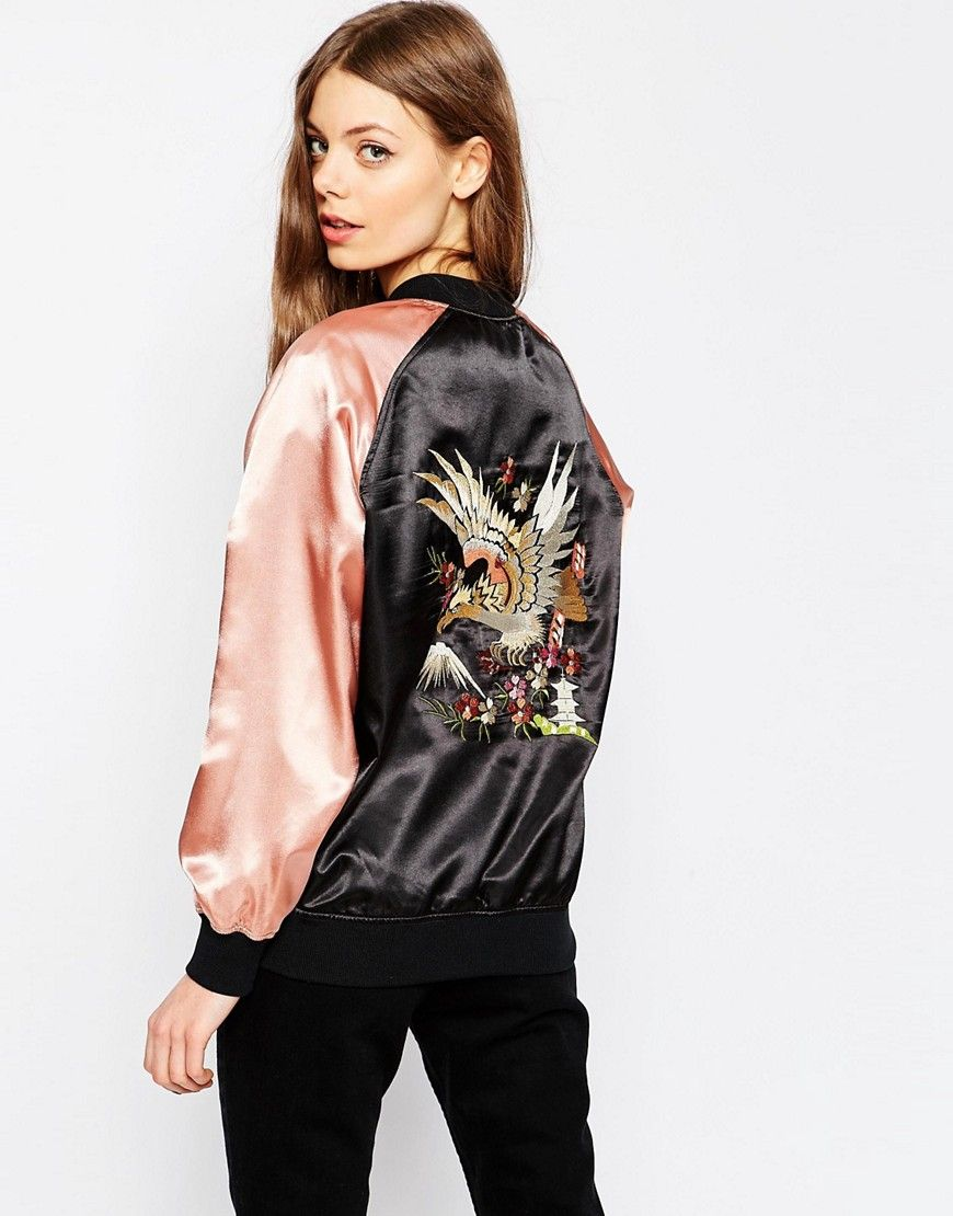 Image 2 of ASOS Premium Bomber Jacket with Floral Embroidery ...