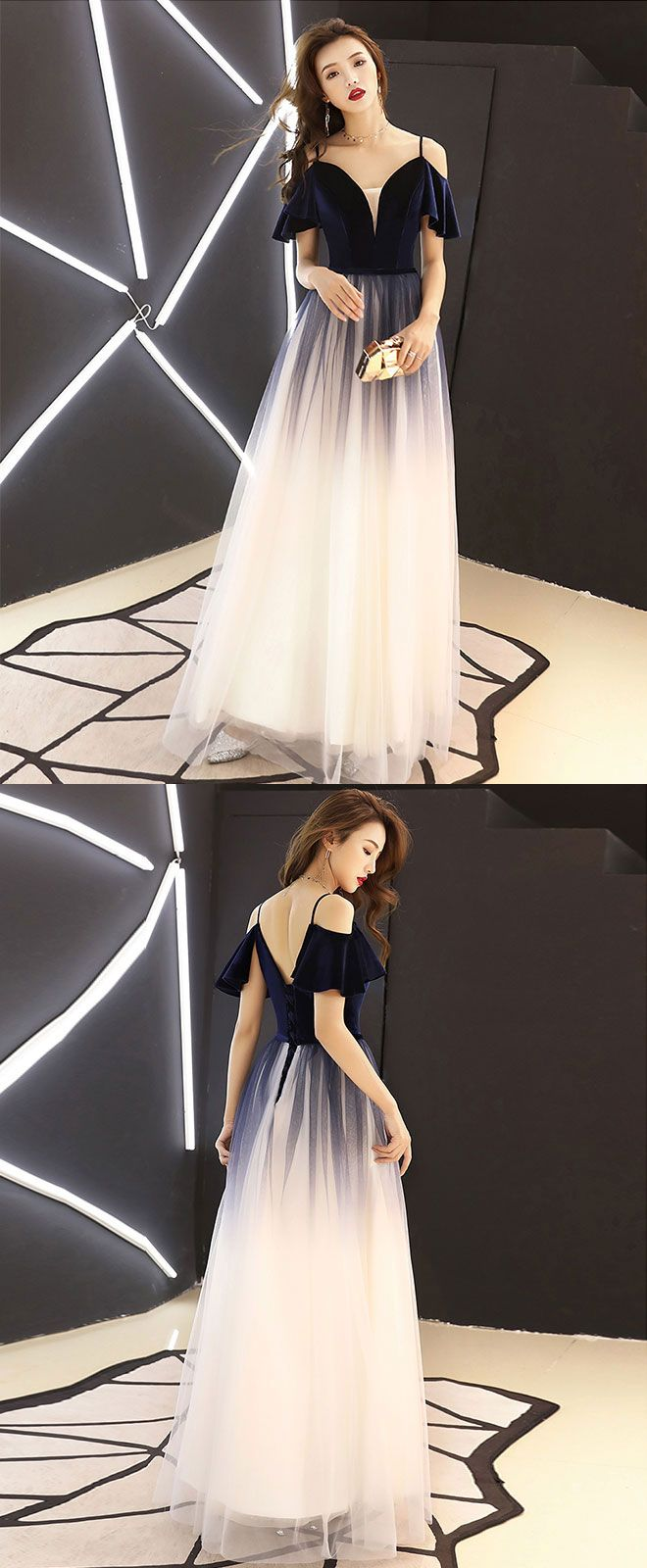 Simple dark blue tulle long prom dress blue evening dress evening